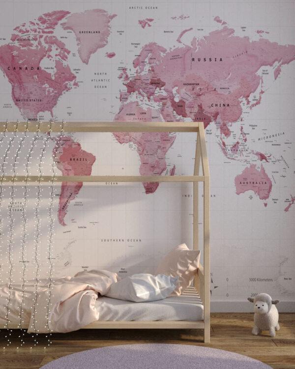 Fototapeten Weltkarte Pink Traveller | 3d Tapete