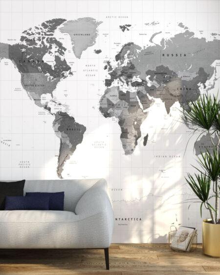 Fototapeten Weltkarte Graue Erde | 3d tapete