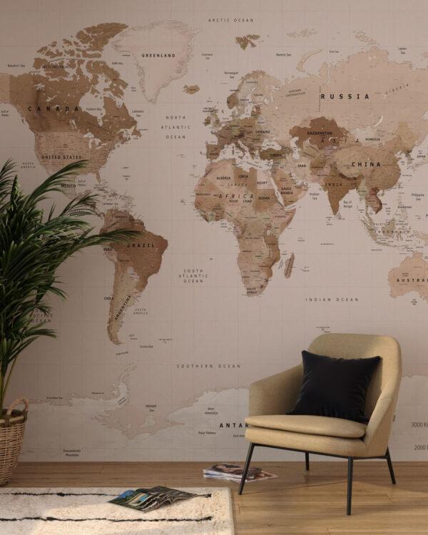 Fototapeten Caramel Map | 3d tapete