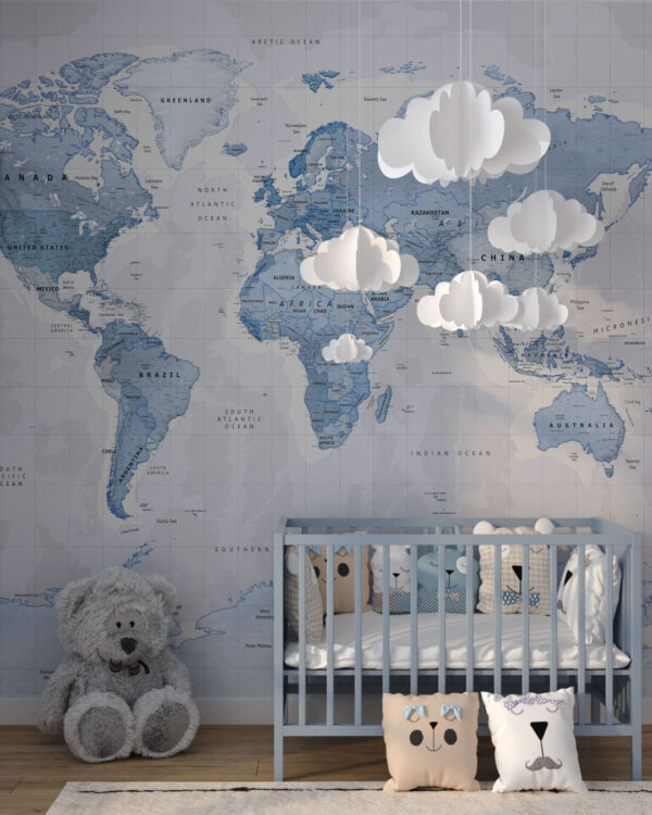 Fototapeten Weltkarte Baby Blue | 3d tapete