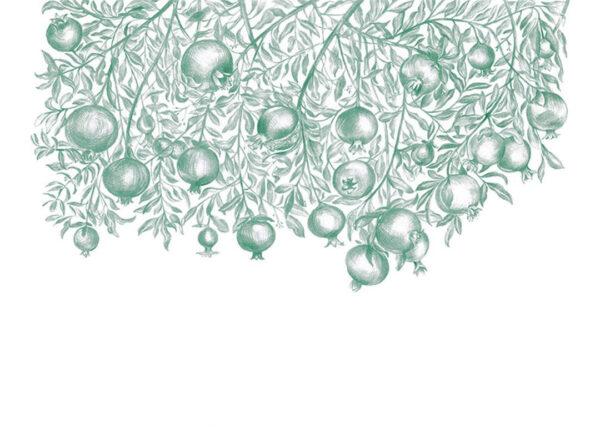 Kaufen Designer Fototapeten Garnet Green Beispiel weißer Hintergrund | 3d tapete küche