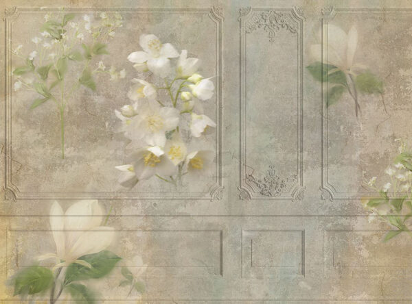 Designer Fototapeten Venice Tenderness Beispiel Grüntöne mit einer Blume | 3d tapete