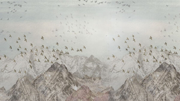 Design Fototapeten Freedom Birds over mountains Beispiel blau | fototapete natur