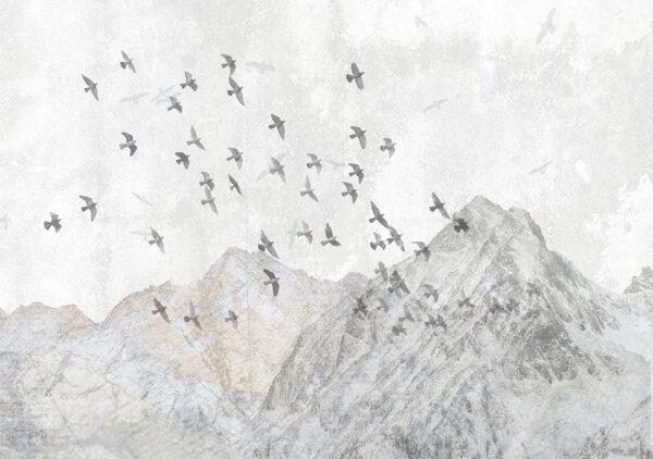 Design Fototapeten Freedom Birds over mountains Beispiel grau | fototapeten 3d