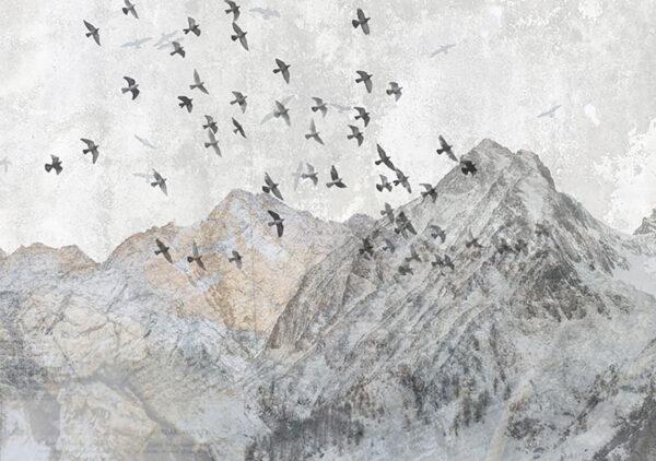 Design Fototapeten Freedom Birds over mountains Beispiel grau | 3d tapete