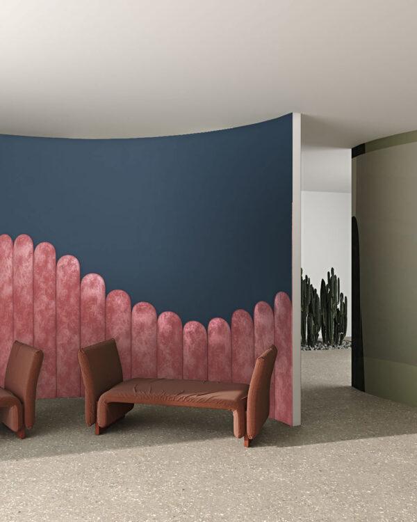 Fototapeten Equalizer Pink Wave on Gray | 3d Fototapeten