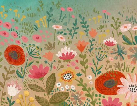 Kaufen Designer Fototapeten Natura Beispiel bunte Blumen   3d fototapeten