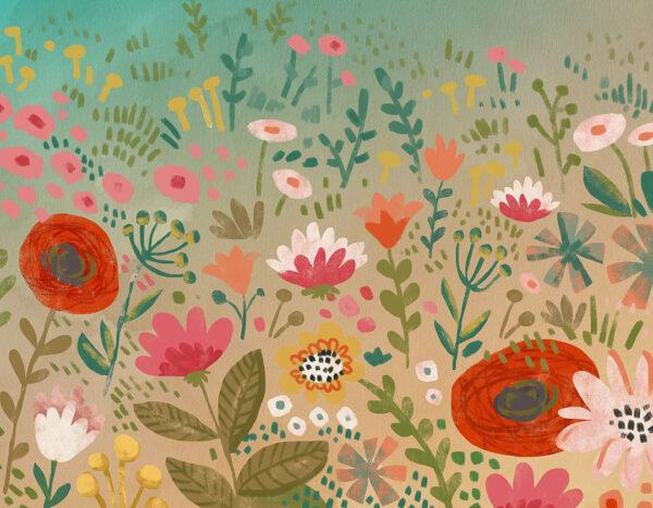 Kaufen Designer Fototapeten Natura Beispiel bunte Blumen | 3d fototapeten