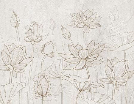 Fototapeten Water Lilly Beispiel Weiß | 3d tapete badezimmer