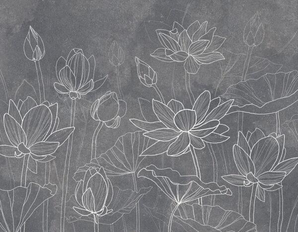 Fototapeten Water Lilly Beispiel grau| 3d tapete badezimmer