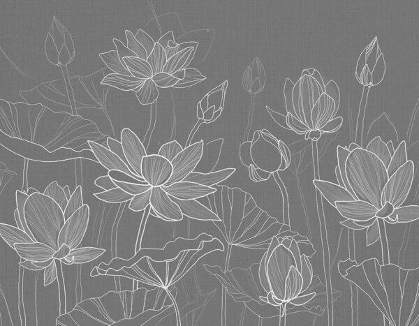 Fototapeten Water Lilly Pink Biespiel grau | fototapeten 3d