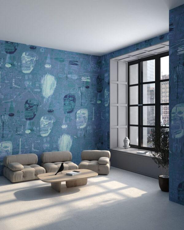 Kaufen Designer Fototapeten Graffiti Blue | 3d tapeten
