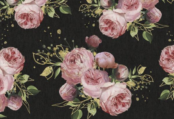 Design Fototapeten Bloom Pattern Beispiel dunkel wenige Rosen | fototapete natur