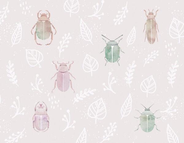 Fototapeten Chafer & Leaves Beispiel rosa Lavendel | 3d tapete