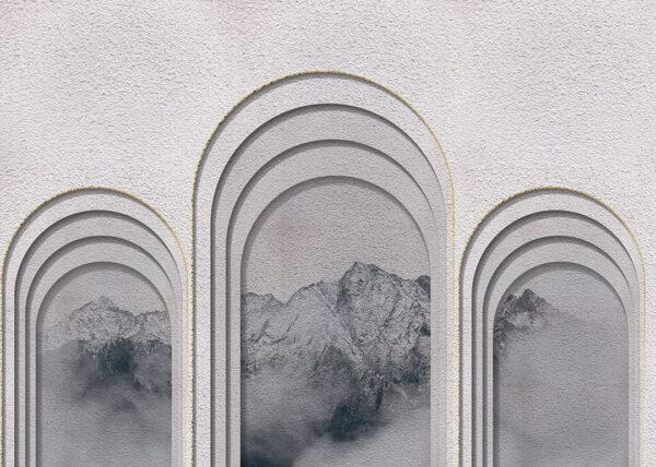 Design Fototapeten Glyph Mountains Beispiel grau | fototapete natur