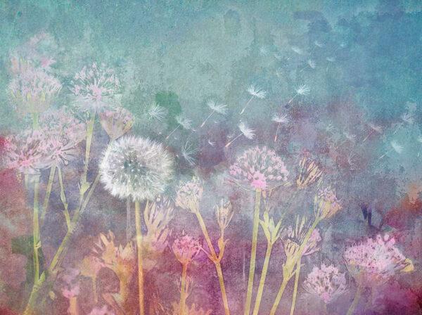 Fototapeten Watercolor Seeds Beispiel blau | fototapete natur