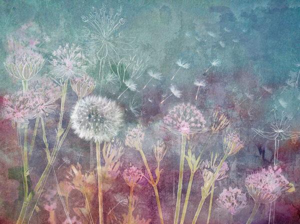 Fototapeten Watercolor Seeds Beispiel blau mit dem Zusatz | fototapete natur