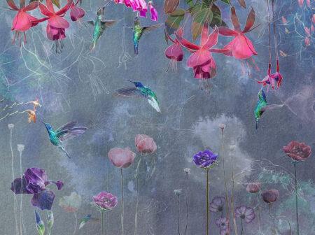 Kaufen Designer Fototapeten Watercolor Hummingbird Beispiel azurblau   3d tapete küche