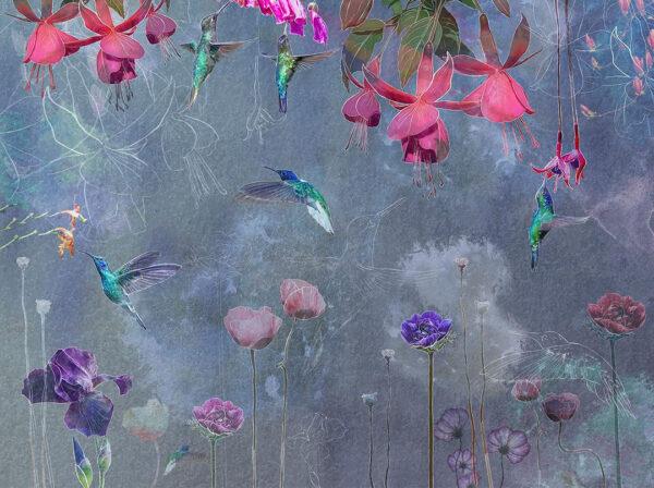 Kaufen Designer Fototapeten Watercolor Hummingbird Beispiel azurblau | 3d tapete küche
