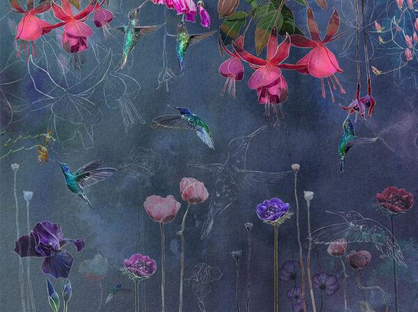 Kaufen Designer Fototapeten Watercolor Hummingbird Beispiel Blautönung | 3d tapete küche