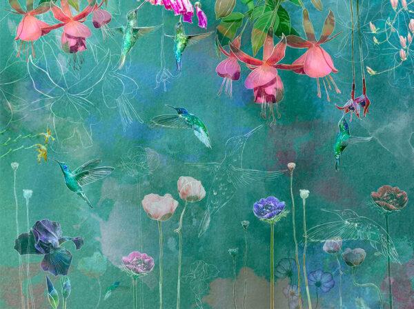 Kaufen Designer Fototapeten Watercolor Hummingbird Beispiel grüne Tönung | 3d tapete küche