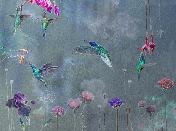Designer Fototapeten Watercolor Birds Beispiel Grautönung | 3d tapeten schlafzimmer