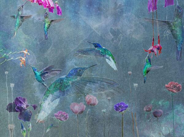 Designer Fototapeten Watercolor Birds Beispiel Blautönung | 3d tapeten schlafzimmer