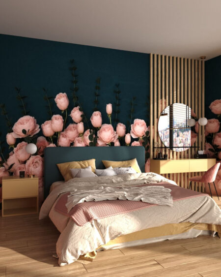 Design Fototapeten 3D Rosa Inglesa Sapphirine | fototapete natur