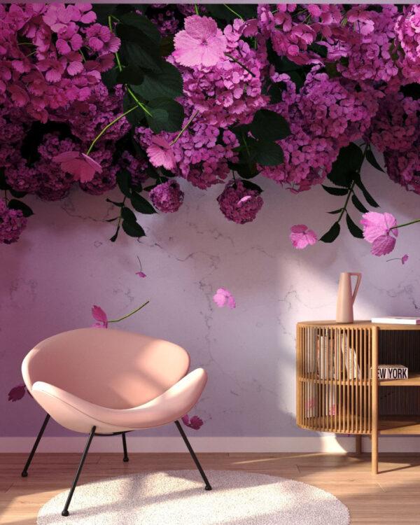 Kaufen Designer Fototapeten 3D Ortensie Rose | 3d tapeten