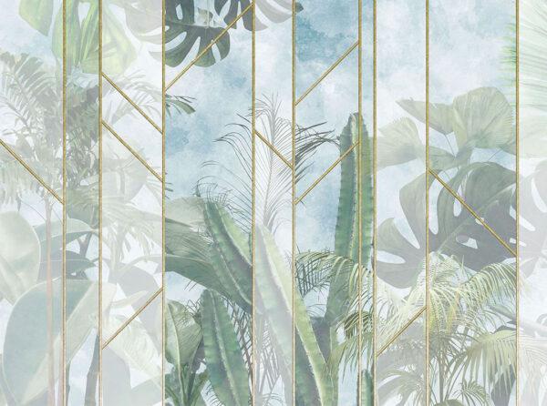 Kaufen Designer Fototapeten Foliage Behind the Glass Beispiel | 3d tapete badezimmer