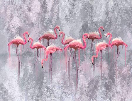Kaufen Designer Fototapeten Fenicottero Beispiel Grauer Hintergrund | 3d tapeten