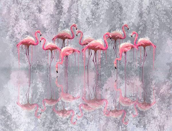 Kaufen Designer Fototapeten Fenicottero Beispiel grauer Hintergrund und Flamingo gespiegelt   3d tapeten