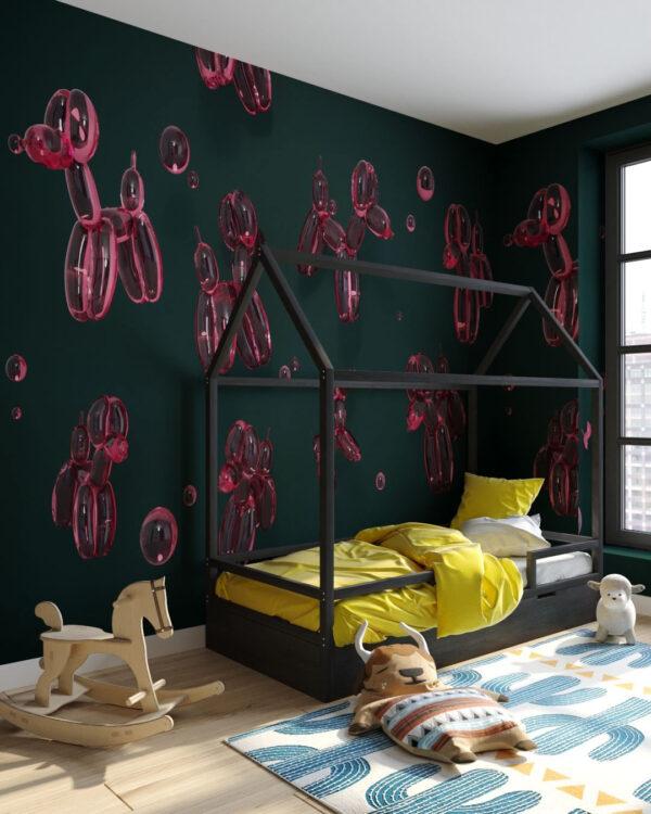 Designer Fototapeten Balloon Dogs Green | 3d tapete