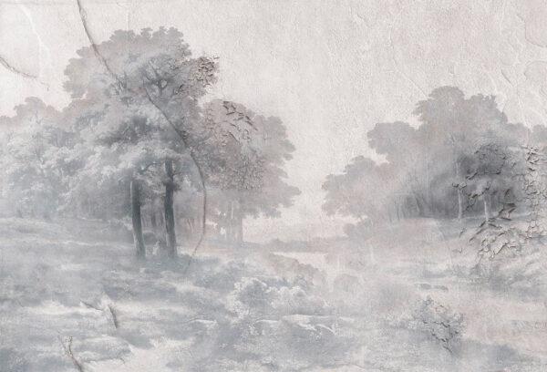 Designer Fototapeten Armonia in the Fog Beispiel grau | 3d tapeten