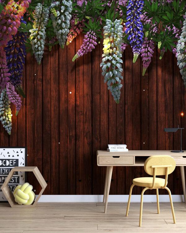 Kaufen Designer Fototapeten Lupin Sunlight Brown Tree Bloom | 3d tapete