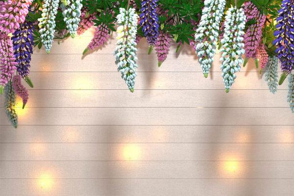 Design Fototapeten Lupin Sunlight White Tree Bloom Beispiel weiße Bretter | fototapete wald 3d