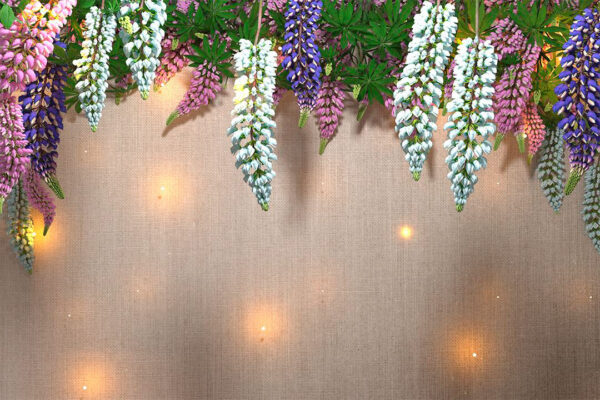 Design Fototapeten Lupin Sunlight White Tree Bloom Beispiel die Kleidung | fototapete wald 3d