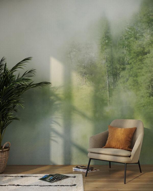 Kaufen Designer Fototapeten Foggy Forest Cyan | fototapete wald
