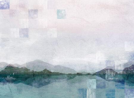 Kaufen Fototapeten Textured Watercolor Nature Beispiel mit Quadraten | 3d tapeten