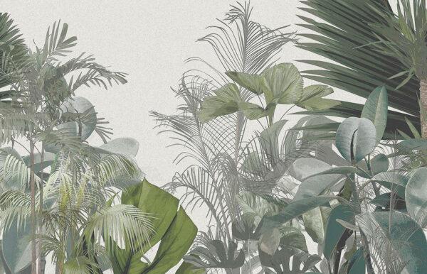 Designer Fototapeten Wild Jungle Beispiel grauer Blumenton | 3d wandtapete