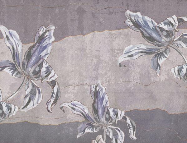 Designer Fototapeten Tulip Touch Beispiel lila | 3d tapete