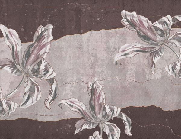 Designer Fototapeten Tulip Touch Beispiel rötlich-braun | 3d tapete