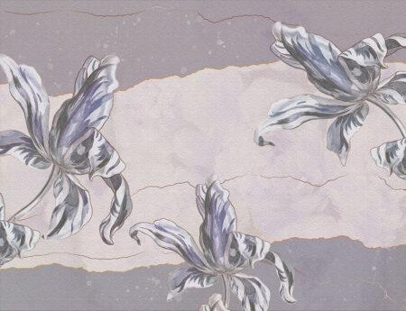 Designer Fototapeten Tulip Touch Vintage Beispiel lila | 3d wandtapete