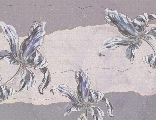 Designer Fototapeten Tulip Touch Vintage Beispiel lila   3d wandtapete