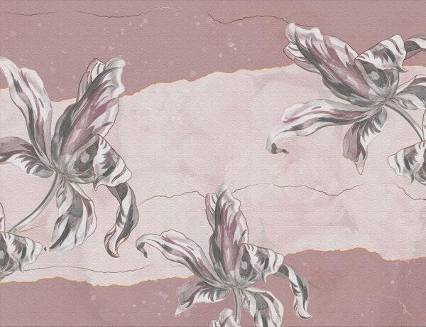 Designer Fototapeten Tulip Touch Vintage Beispiel rosa Tönung   3d wandtapete