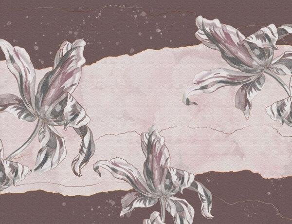 Designer Fototapeten Tulip Touch Vintage Beispiel rötlich-braun   3d wandtapete