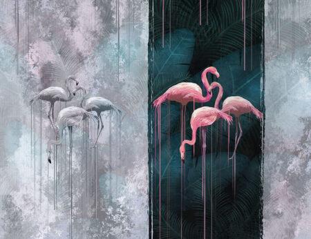 Designer Fototapeten Contrast Beispiel grauer Hintergrund mit Flamingos | 3d fototapeten