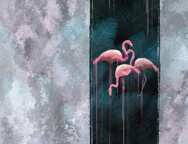 Designer Fototapeten Contrast Beispiel grauer Hintergrund ohne Flamingos   3d fototapeten