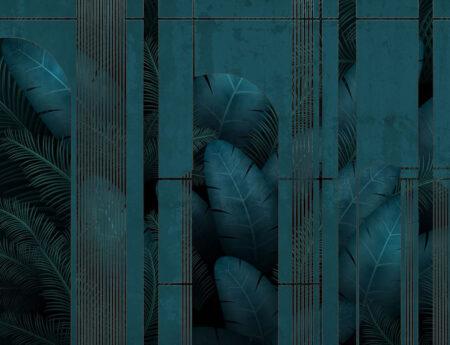 Design Fototapeten Fence Dark Beispiel Blau Grün | fototapete natur