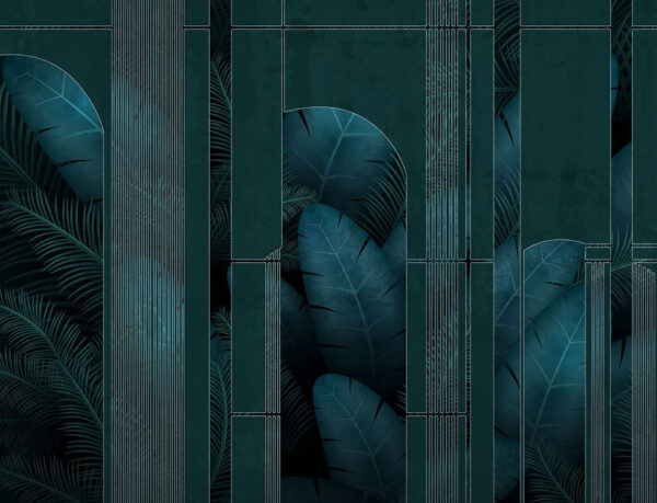 Design Fototapeten Fence Dark Beispiel dunkelgrün | fototapete natur